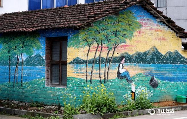 金华武义乡村画上农耕文化墙绘