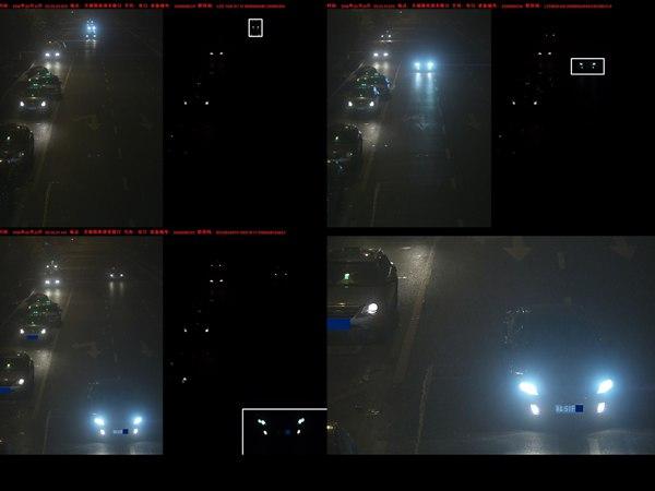 新型电子警察通过照片的比对,判断出了滥用远光灯的车主。