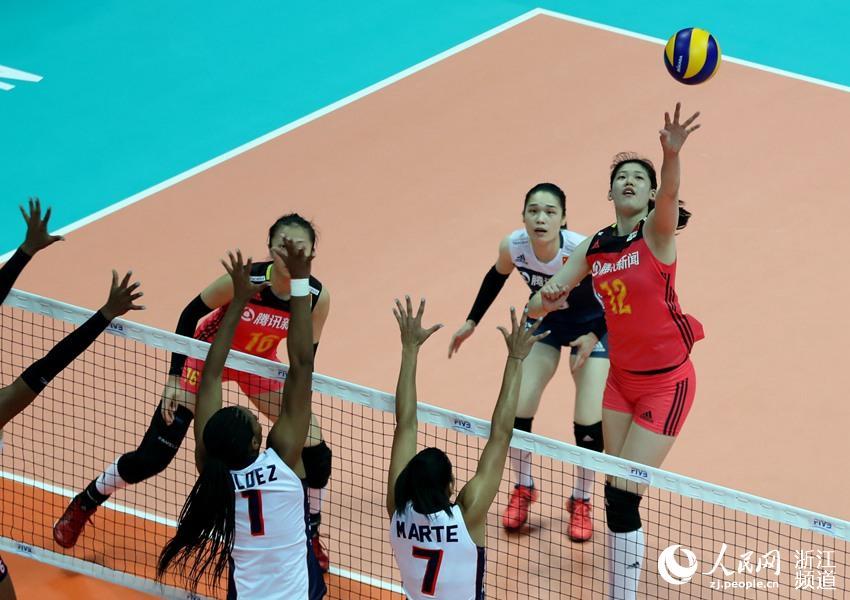 2018世界排球联赛北仑站 中国女排3:0胜多米尼