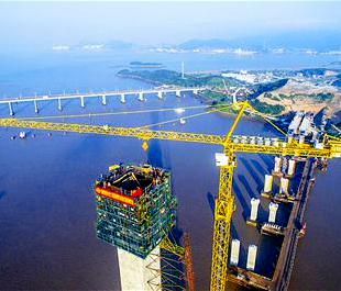 舟山:富翅门大桥建设如火如荼