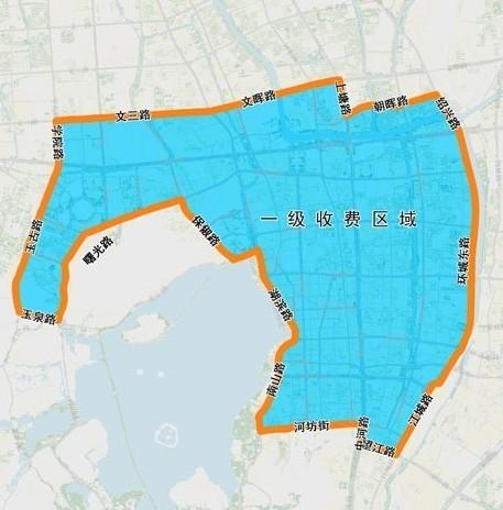 区域划分以市区交通主干道为分界线,界别道路实行统一的收费价格,按一
